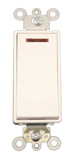 Leviton 5628-2W 20 Amp, 120 Volt, Decora Plus Rocker Pilot Light, Illuminated On, Req. Neutral Single-Pole AC Quiet Switch, Commercial Grade, Self Grounding, White (Leviton Light Switches)