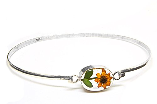 Sterling Silver Bracelet with a Real Natural Pressed Miniature Sunflower (Symbol of Happiness and Light) in a Transparent Background and a .925 Silver Ring by TAMI Joyería Floral