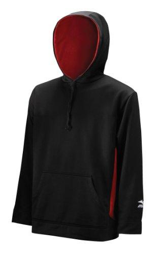 Mizuno Red Pullover (Mizuno Men's Technical Fleece Hooded Sweatshirt (Black-Red, Medium))