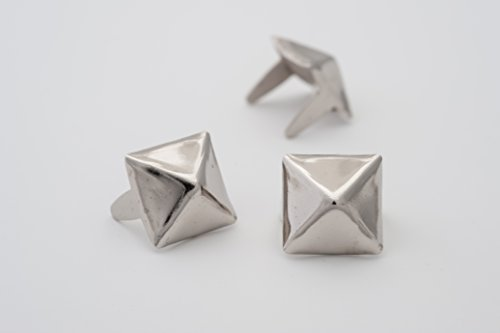 Pyramid Studs - Size 10 - Ideally used for Denim and Leather Work - Classic Two-Prong Studs - Silver Colored - Pack of 100 studs and spikes ()