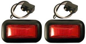 (Set of 2 Red 15 Series Trailer Marker Lights Grommet + Pigtails)