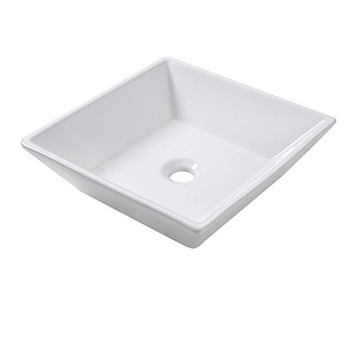- Lordear 16''x16''x5'' Modern Bathroom Square Above White Porcelain Ceramic Vessel Vanity Sink Art Basin