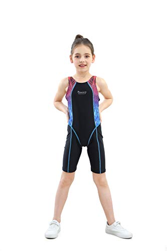 Peacoco Girls' Solid Splice Athletic One-Piece Swimsuits Racerback Competive Legsuit For 8-12 -