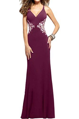 Elegante ressing vestito ivyd a V Donna scollo abito Fuchsie Traeger Party schnuerung sera Prom Applikation Festa abito qESwHdSZx