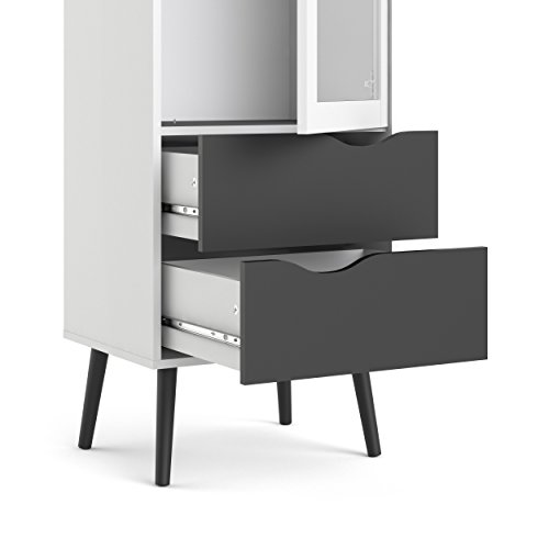 Tvilum 7546149gm Diana 2 Drawer and and 1 Door Glass China Cabinet, White/Black Matte by Tvilum (Image #5)