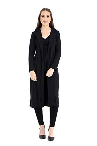 Frauen Langarm Lange Linie Ergattertes Duster Damen-Mantel-Jacke Top Größe UK 8-14 Black
