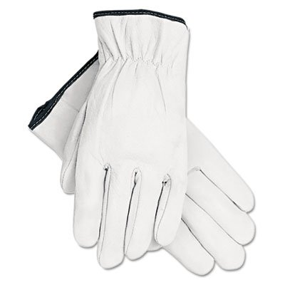 Grain Goatskin Driver Gloves, White, Large, 12 Pairs, Sold as 12 Each