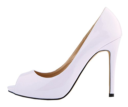 Peep Pumps PU Slip Fashion Patent High Shoes Toe Mouth White Heeled Sexy On Dress Shallow Women's vIaZW4qAv