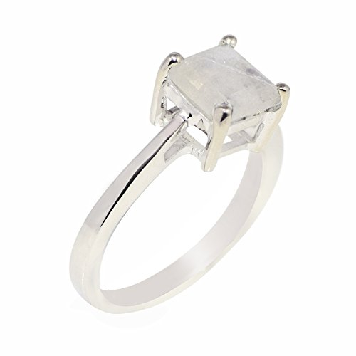 925 Sterling Silver RIng Rainbow Moonstone Squar White Rhodium Women's Ring (10 Stone Ring)