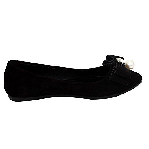 Non À bijou Femme Chaussures Couleur Talon Unie Plat Tire Pointu Noir Aalardom tPwqZ8TZ