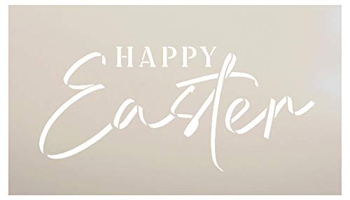 Happy Easter Cursive Script Stencil by StudioR12   DIY Christian Spring Home Decor   Rustic Word Art   Craft & Paint Farmhouse Wood Signs   Reusable Mylar Template   Select Size (15.75 x 9 inch)