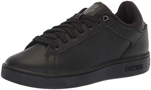 K-Swiss Unisex Clean Court Sneaker, Black/Charcoal, 6 M US Big Kid