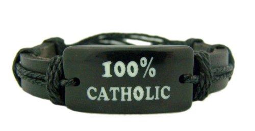 Black Leather Band 8 Inch Adjustable Bracelet with Acrylic