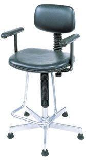 Nexel Office Stool with Teardrop Footrest and Fixed T-Arms, Black Vinyl