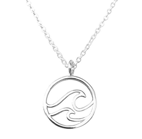 Altitude Boutique Double Wave Necklace for Women Ocean Sea Jewelry (Silver Tone)
