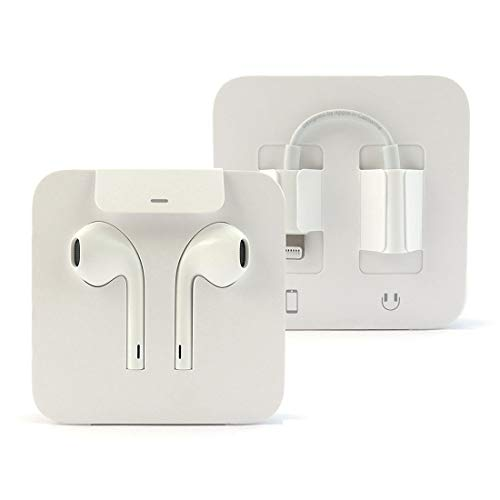 iPhone Earbuds Headphones Earpods w/Volume Buttons and Microphone w/Lightning Connector & 3.5mm Adapter (Bulk Packaging) (Renewed)