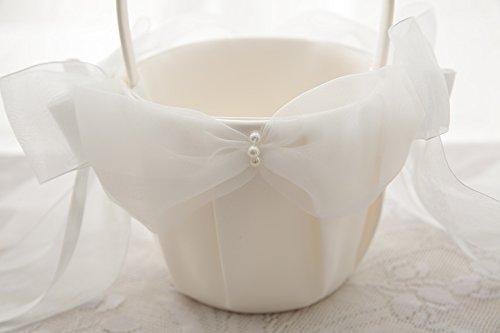 Flower Girl Basket Wedding Collection Traditional Ivory (Model 01-01)
