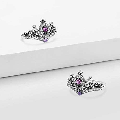 KathShop New Princess Crown Rings for Women Vintage Silver Color Adjustable Wedding Rings Female Fashion Jewelry Accessories