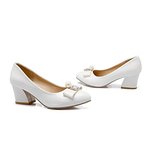 Kitten heels Solid Toe Pu Pumps Pull Pointed shoes Womens on Amoonyfashion White Closed Yq0HxB