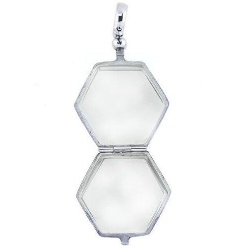 Sterling Silver Hexagon Shaped Glass Dome Locket Sterling Silver 1 Inch X 1 Inch by PicturesOnGold.com