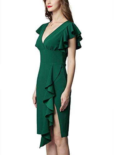 Green Sleeveless Deep Cocktail Pencil Dress Ruffles V Party Neck JAEDEN Dresses Flowy Rq4BwSqx