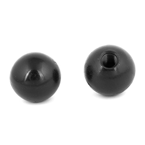 uxcell Black Plastic Round 40mm Diameter 12mm Threaded Ball Lever Knob 2 Pcs