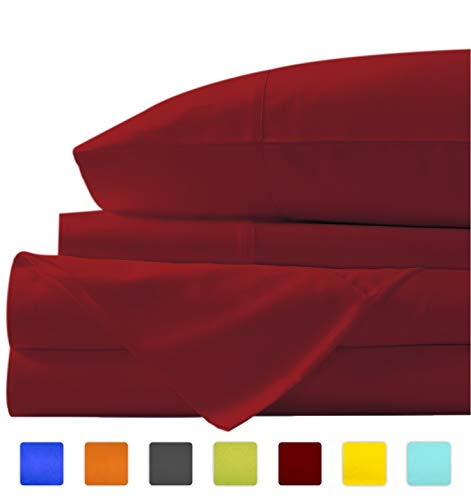 "New York Mercado Super soft, elegant and Premium Quality, 100% Egyptian cotton, made in USA Italian finish High TC, long stapled 4-pc bedding sheet set with 21"" Deep Pocket (King, Burgundy)"
