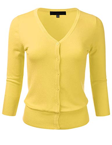 (FLORIA Women's Button Down 3/4 Sleeve V-Neck Stretch Knit Cardigan Sweater BABYYELLOW)