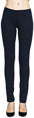 Women's Slim Fit Super Stretch Comfy Jeggings Skinny Pants With Real Back Pockets, Navy, Large ()