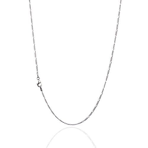 925 Sterling Silver 1.50 mm Diamond-Cut Figaro Chain Necklace with Pear Shape Clasp-Rhodium Finish