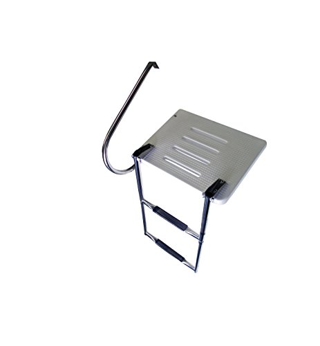Pactrade Marine Boat Universal Swim Over Platform Mount Telescopic Ladder, 2 Step in/Outboard One Rail