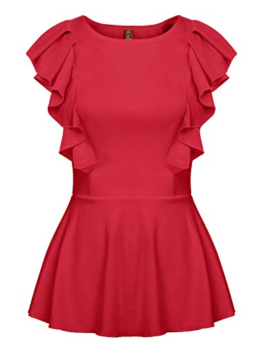 (Womens Peplum Blouse Round Neck Sleeveless Work Casual Ruffle Tops Shirt Red XL)