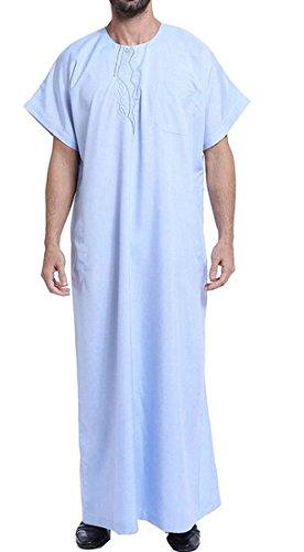 Spirio Men's Saudi Arab Short Sleeve Thobe Islamic Muslim Dubai Robe Sky Blue XL by Spirio