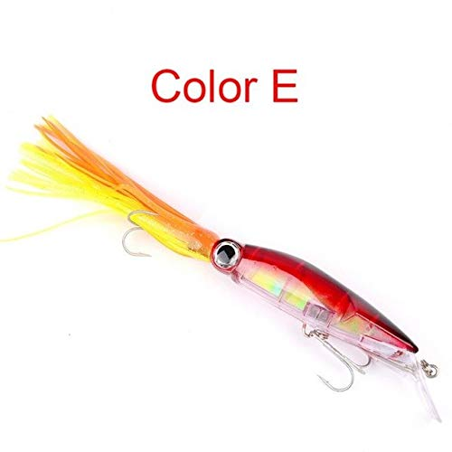S-Sport-Life - 14cm / 40g Fishing Lures 5 Types Bionic Baits Artificial Hard Squid Skirts Octopus Trolling Baits With Hook Rig Fishing ()