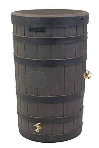 (Good Ideas RW-2PD050-OAK Wizard American Darkened Ribs-Oak Rain Barrel)