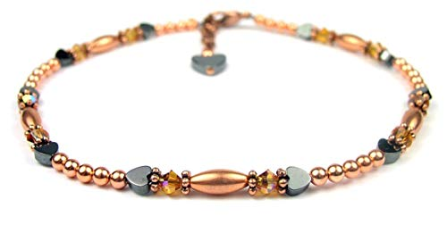 Copper Jewelry: Copper Bracelet/Copper Ankle Bracelet - Size 6.5 In. to 12.5 In. Swarovski Crystal Beaded Anklets Topaz November Birthstone