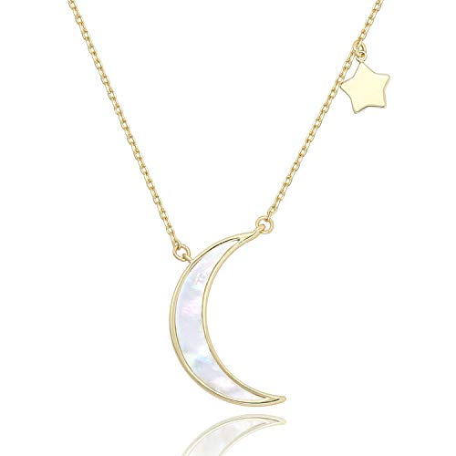 - COZLANE Crescent Necklace Half Moon and Stars Pendant Natural Shell Necklace Fashion Jewelry for Women Girls