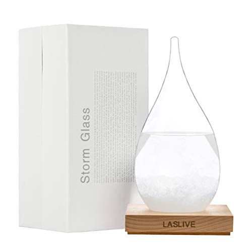Stylish Deskstop Waterdrop Shape Transparent Storm Glass with Quality Wooden Base - Unique Weather Forecaster - Best for Gift - The Most Dazzling Decorations on Various Occasion. (Glass Weather Station)