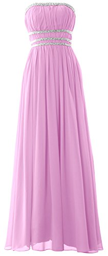 MACloth Women Strapless Chiffon Long Prom Dress Evening Formal Gown with Beading Rosa