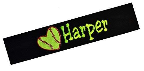 Funny Girl Designs Softball Headband Embroidered with Personalized Custom Name and Glitter Heart Softball (Purple Headband)