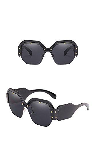 gris de Caja Mujer Sol de Amarilla Tendencia Sol Lente Anti brillante marco negro Azul UV Marina Gafas Película de sol Gafas RFVBNM Gafas Gafas tR6RY0