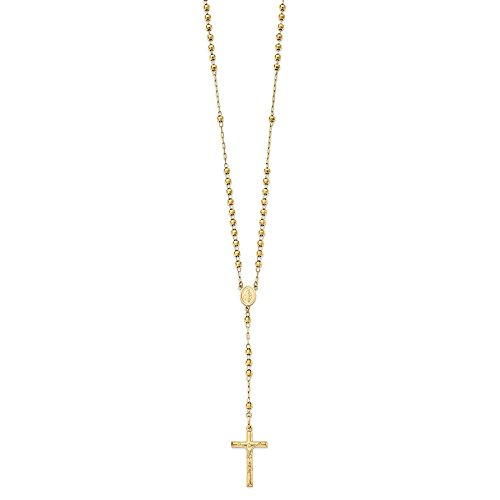14k Solid Yellow Gold Diamond-cut 4mm Beaded Rosary Necklace 24