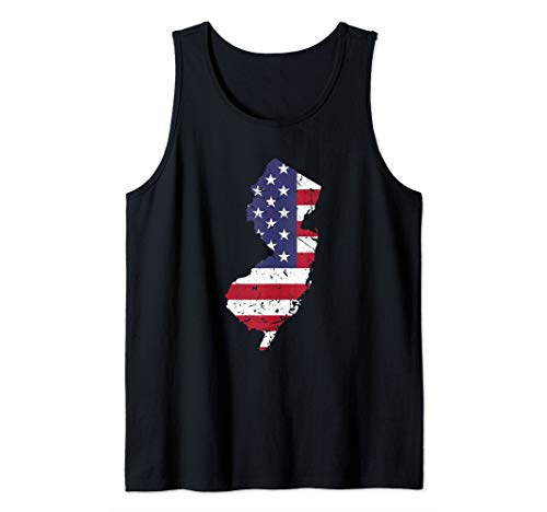 New Pc Jersey - New Jersey Map State American Flag Art 4th Of July Pride Tank Top