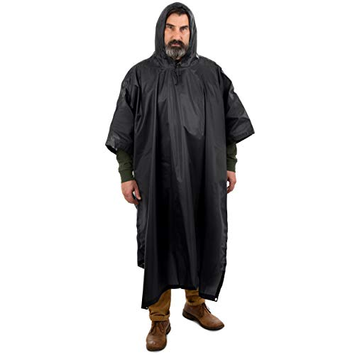 (Arcturus Rain Poncho: Lightweight Ripstop Nylon Poncho with Adjustable Hood. Multipurpose, Large, Waterproof Design - Makes a Great Tarp, Backpacking Ground Cloth & Emergency Shelter (Black))