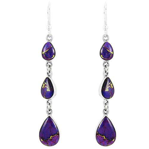(Purple Turquoise Earrings Sterling Silver 925 (Select Style) (Chandeliers))