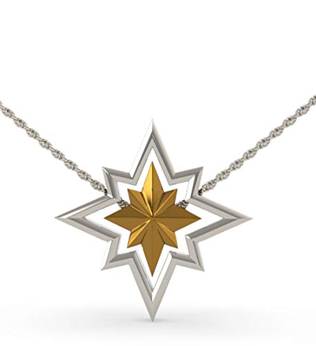 (Captain Marvel Necklace Star Logo Pendent Detachable Charms 4-Way Wearing Anime Cosplay Accessories Women's Jewelry Silver)
