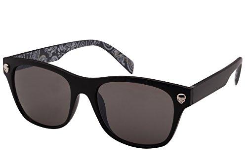 Edge I-Wear Horned Rim Skull Sunglasses with Solid Lens - Sunglasses Skull