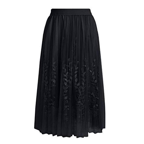 Sunhusing Women's Flower Embroidery Lace Stitching A-Line Skirt Student High Waist Pleated Long Yarn Skirt Black