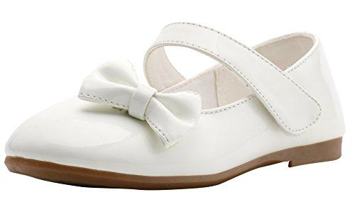LONSOEN Little Girls Marry Jane Dress Ballet Flat Shoes(Toddler/Little Kid) White KFL660 CN27 ()