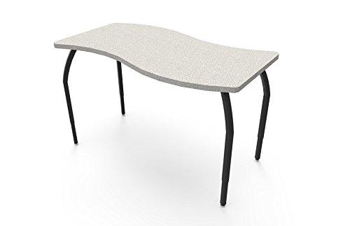 ELO Tide table, Grey Nebula laminate & banding w/4 adjustable black legs (Particle Board Nebula)